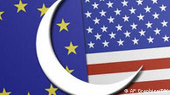 US and EU flags and a crescent moon