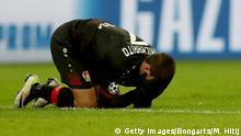 LEVERKUSEN, GERMANY - FEBRUARY 21: Javier Hernandez of Leverkusen lies on the pitch during the UEFA Champions League Round of 16 first leg match between Bayer Leverkusen and Club Atletico de Madrid at BayArena on February 21, 2017 in Leverkusen, Germany. (Photo by Maja Hitij/Bongarts/Getty Images)
