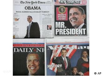 Front pages of several newspapers