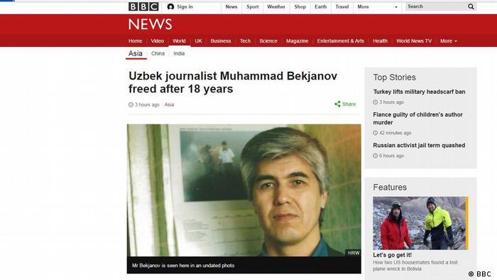 Screenshot BBC Usbekischer Journalist nach 18 Jahren Haft freigelassen
