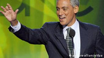 A file photo dated 26 August 2008 shows Illinois Representative Rahm Emanuel as he addresses the 2008 Democratic National Convention at the Pepsi Center in Denver, Colorado USA. Newly elected US president Barack Obama has named Emanuel, a tough-minded tactician with West Wing experience, to serve as his White House chief of staff. EPA/TANNEN MAURY +++(c) dpa - Bildfunk+++