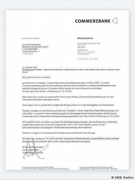 Kuendigungsschreiben der Commerzbank an den Botschafter der Republik Jemen in Deutschland