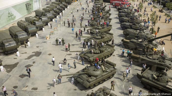 Tanks at an army park in Moscow