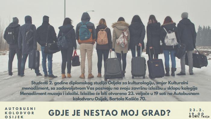 Plakat Gdje je nestao moj grad? - izložba u Osijeku o iseljenicima i razlozima iseljavanja (arhivska snimka iz 2017.)