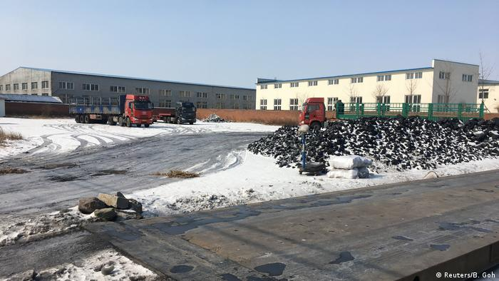 Coal is seen at a yard of Liaoning Greenland Energy Coal in Dandong