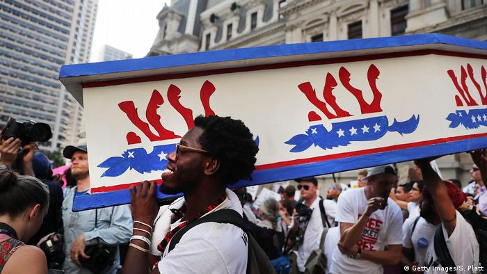 Protesters at a Democratic Party convention