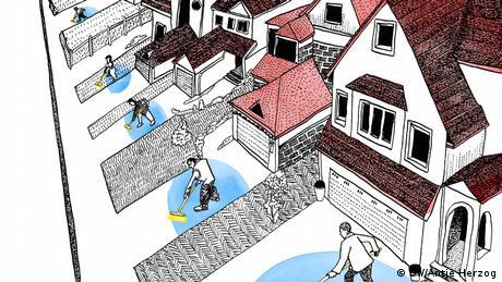 Dw Illustration zum Sprichwort: Jeder sollte vor seiner eigenen Tür kehren: In einer Häuserreihe steht vor jedem Haus ein Mensch mit einem Besen und kehrt.