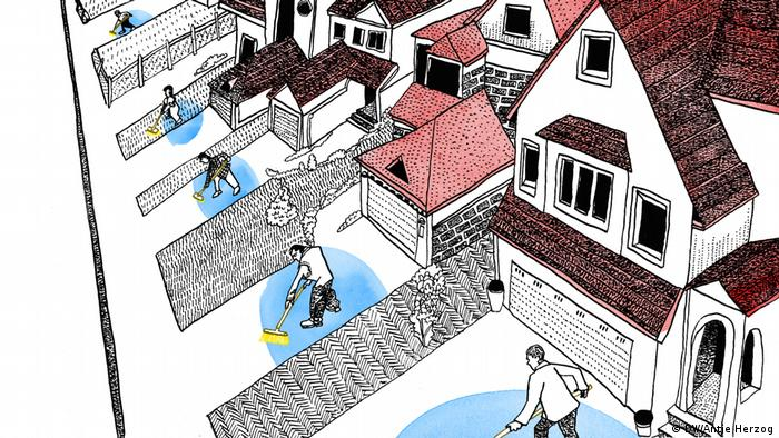 Dw Illustration zum Sprichwort: Jeder sollte vor seiner eigenen Tür kehren: Häuserreihe, in jedem Vorgarten ein Mensch mit einem Besen. (DW/Antje Herzog)