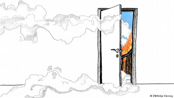 DW Illustration zum Sprichwort: Wo Rauch ist, da ist auch Feuer. (DW/Antje Herzog)