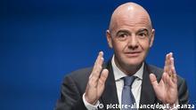 FIFA-Präsident Gianni Infantino spricht bei einer Pressekonferenz nach einemFIFACouncil Meeting am 10.01.2017 in Zürich (Schweiz). (zu dpa «FIFA beschließt Mammut-WM mit 48 Teams - Klare Kritik von Löw & Co.» vom 10.01.2017) Foto: Ennio Leanza/KEYSTONE/dpa +++(c) dpa - Bildfunk+++