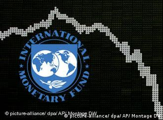 Montage of the IMF logo and a dropping stock curve