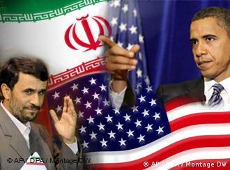 Montage of Iranian and US flags with Obama and Ahmadinejad