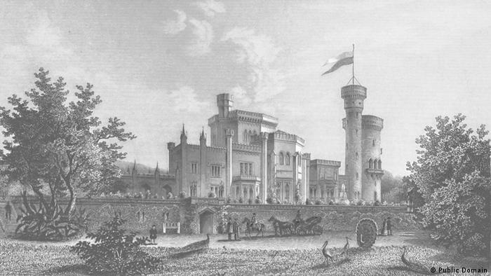Замок Бабельсберг в Потсдаме на гравюре 1852 года