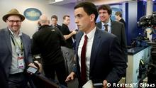 24.02.2017 +++ Trey Yingst (C) of One American News Network and other journalists depart after an off camera gaggle meeting with White House Press Secretary Sean Spicer (Not Pictured) while New York Times reporter Glen Thrush (L), who was excluded along with several other major news organizations, reacts at the White House in Washington, U.S., February 24, 2017. REUTERS/Yuri Gripas
