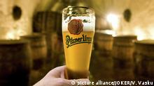 06.01.2009 Pilsen, Im Keller der Brauerei mit einem typischen Produkt des Hauses Pilsen , Tschechien, 06.01.2009   Verwendung weltweit