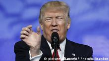 President Donald Trump gestures as he speaks at the Conservative Political Action Conference (CPAC), Friday, Feb. 24, 2017, in Oxon Hill, Md. (AP Photo/Alex Brandon)  
