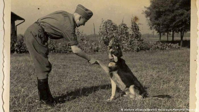 Офицер СС из концлагеря Освенцим со своей собакой