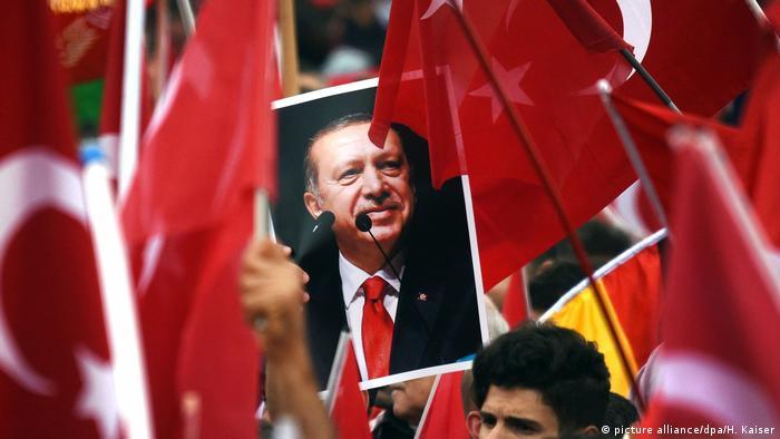 Recep Tayyip Erdogan poster, Turkish flags