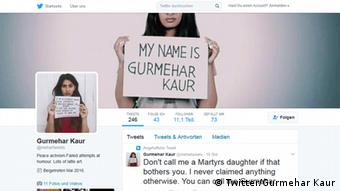 Screenshot Twitter Gurmehar Kaur