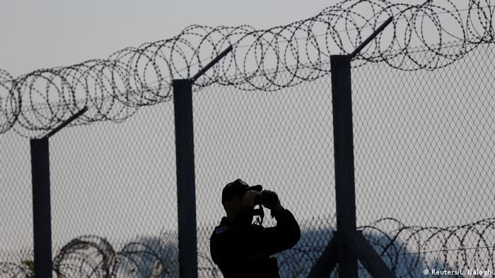 Guard looks through barbed wire fence (Reuters/L. Balogh)