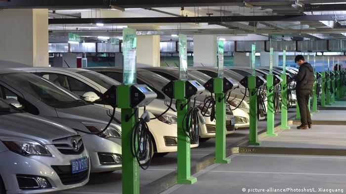 Electric charging posts at an underground parking lot near the Beijing West Railway Station in China