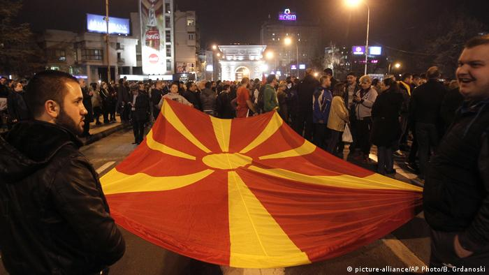 Mazedonien Skopje Demonstration (picture-alliance/AP Photo/B. Grdanoski)