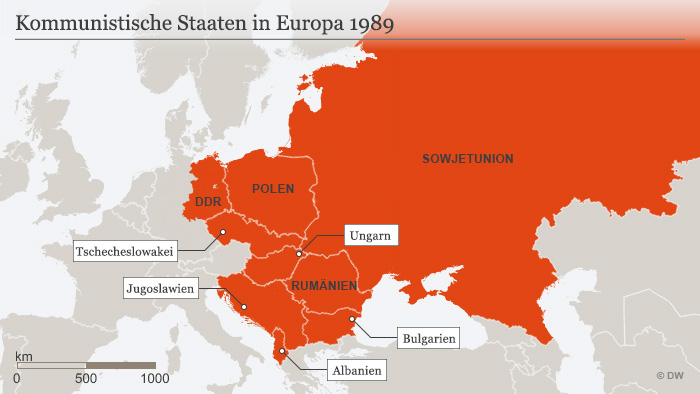 Crveno su komunistčke zemlje u Evropi 1989 godine.