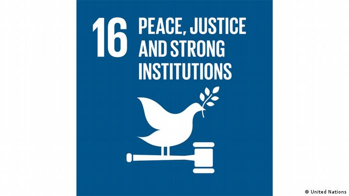 UN SDG 16 logo showing stylized dove sitting on a hammer and holding an olive branch and the words peace, justice and strong institutions