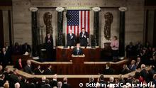28.02.2017 WASHINGTON, DC - FEBRUARY 28: U.S. President Donald Trump addresses a joint session of the U.S. Congress on February 28, 2017 in the House chamber of the U.S. Capitol in Washington, DC. Trump's first address to Congress focused on national security, tax and regulatory reform, the economy, and healthcare. (Photo by Chip Somodevilla/Getty Images)