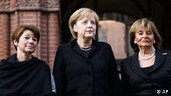 The head of the Jewish community in Berlin Lala Suesskind, the President of the Central Council of Jews in Germany Charlotte Knobloch and German Chancellor Angela Merkel