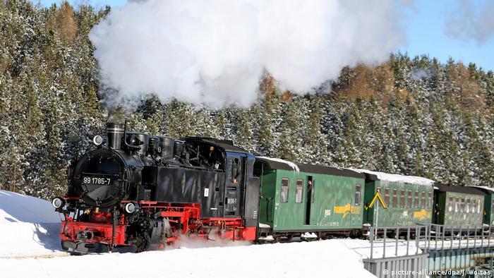 Erzgebirge - Fichtelbergbahn dampft durch den Schnee (picture-alliance/dpa/J. Woitas)