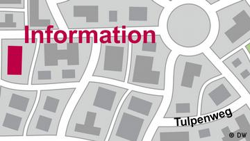 City map showing 'Information' several streets away from Tulpenweg