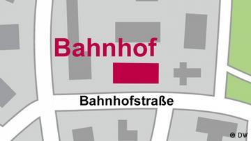 City map showing 'Bahnhof' on 'Bahnhofstraße'