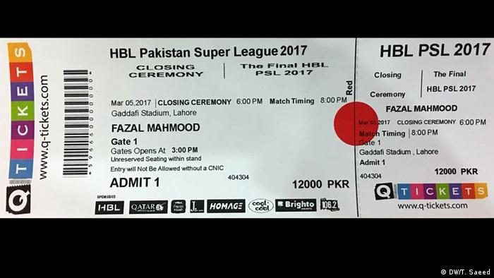 Lahore Pakistan - Cricket Ticket für PSL (DW/T. Saeed)