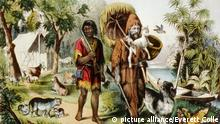 Daniel Defoe's classic characters, Robinson Crusoe, and his companion Friday, with their animals on an isolated island. Written in 1720, Robinson Crusoe maintained its popularity into the 20th century. 1875 Currier and Ives print. | Keine Weitergabe an Wiederverkäufer.