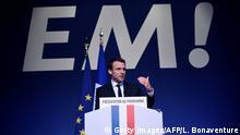 Frankreich Präsidentschaftskandidat Emmanuel Macron stellt sein Programm vor