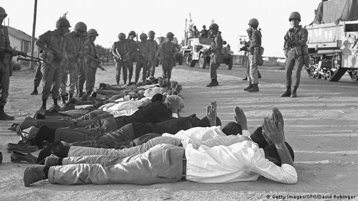 Israeli troops guard captured Egyptian troops on June 5, 1967