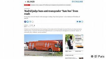 Screenshot El Pais - Verbot des Anti-Transgender-Bus