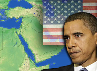 Graphic of US President Barack Obama with US flag and map of the Middle East