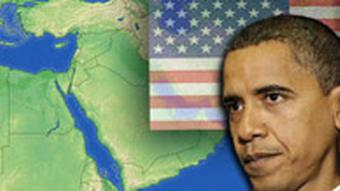 A map of the Middle East with a portrait of Barack Obama