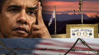 Collage of US President Barack Obama and Guantanamo Bay detention center