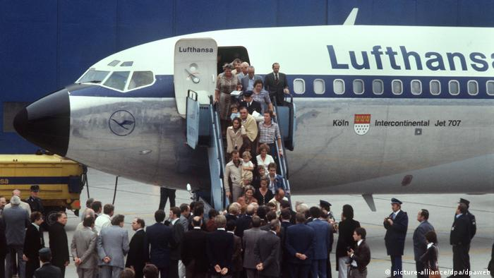 The Lufthansa aircraft arriving with freed passengers