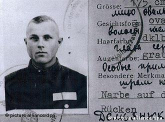 Black and white picture on an ID card allegedly identifying John Demjanjuk as a Nazi camp guard