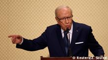 Tunisia's President Beji Caid Essebsi speaks during a news conference with German Chancellor Angela Merkel in Tunis, Tunisia, March 3, 2017. REUTERS/Zoubeir Souissi