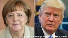 ARCHIV - Die Bildkombo zeigt Bundeskanzlerin Angela Merkel (l, Aufnahme vom 13.04.2016) und US-Präsident Donald Trump (Aufnahme vom 23.01.2017). Trump will am 28.01.2017 erstmals mit Merkel telefonieren. Foto: Michael Kappeler/Ron Sachs/dpa/CNP/dpa +++(c) dpa - Bildfunk+++   Verwendung weltweit