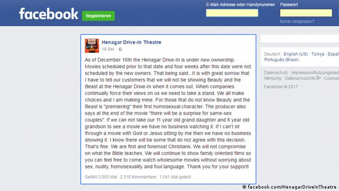 Facebook Screenshot Seite von Henagar Drive-In Theatre