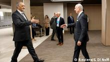 03.03.2017 *** Bashar al-Jaafari (L), Syrian chief negotiator and Ambassador of the Permanent Representative Mission of the Syria to UN New York, shakes hands with UN Special Envoy of the Secretary-General for Syria Staffan de Mistura, right, prior a round of negotiation, during the Intra Syria talks, at the European headquarters of the United Nations in Geneva, Switzerland March 3, 2017. REUTERS/Salvatore Di Nolfi/Pool