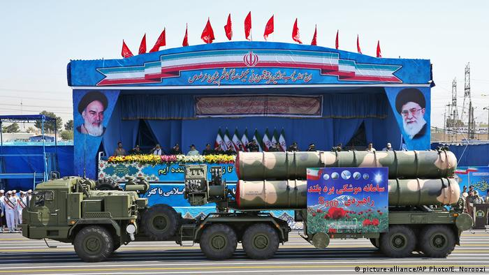 An S-300 missile system is displayed during a military parade marking the 36th anniversary of Iraq's 1980 invasion of Iran, in front of the shrine of late revolutionary founder Ayatollah Khomeini, just outside Tehran