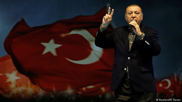 Erdogan gives a speech in Turkey