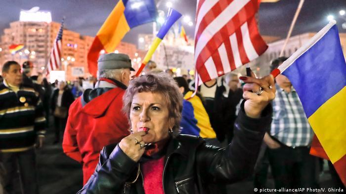 На демонстрации в Бухаресте